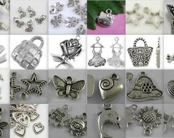 Charm Soup-choice of qt-tibetan antique silver-mixed charms