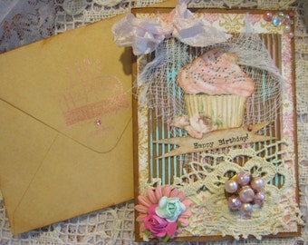 Birthday Card Vintage Style, Shabby Chic with doily and earring