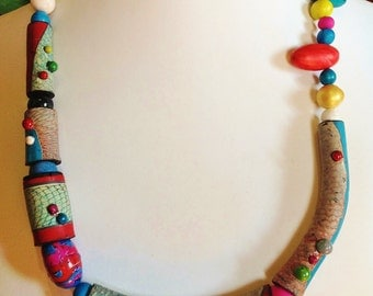 "Polymer clay, ""Crazy necklace"", unique handmade"