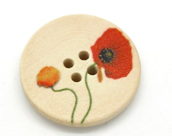 Poppy Design Wooden Buttons 25mm.  Sewing Knitting Scrapbook and other craft projects