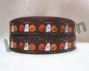 "7/8"" Ghost & Pumpkin Halloween Grosgrain Ribbon"