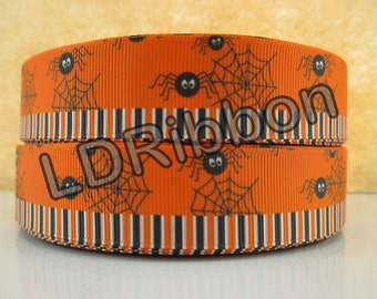 "1"" Spider Halloween Grosgrain Ribbon"