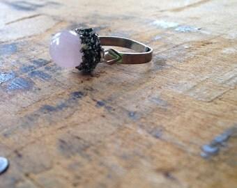 Rose Quartz & Pyrite Encrusted Ring