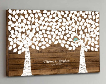 CANVAS Wedding Guest Book Wood - 200 Guests - Two Double Tree Wedding Guestbook Canvas Alternative Guestbook Canvas Guest book - Wood design