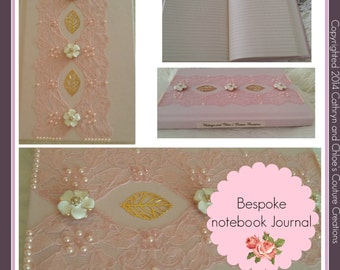Pink Notebook in a vintage lace design -  bespoke notebooks Journal
