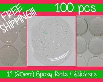 FREE SHIPPING!!!! 100 - 1 Inch (25mm) PREMIUM Glitter Epoxy Dots / Stickers Circle Bottle Cap 3D Domes