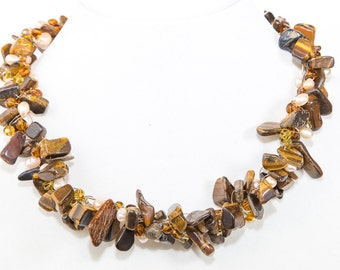 Glamorous Tiger Eye and Pearls Crocheted Statement Necklace