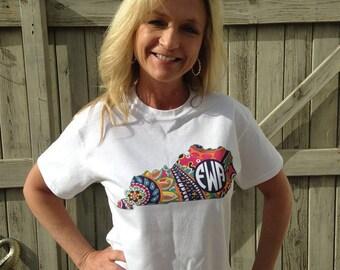 Designer Inspired State Shirt, Monogrammed Shirt, State Shirt, Home State Shirt