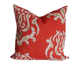Sale!!!, Outdoor pillow, 18x18, Outdoor pillow cover, Decorative pillow, Ikat pillow, Outdoor cushion, Coral pillow, Cheap pillow