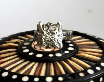 aztec ring, spoon ring, mayan ring,   Mexican ring, mexico ring, silver ring,