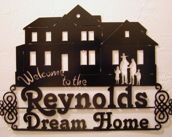 Custom Made Housewarming Gift Metal Cutout of New House and Family