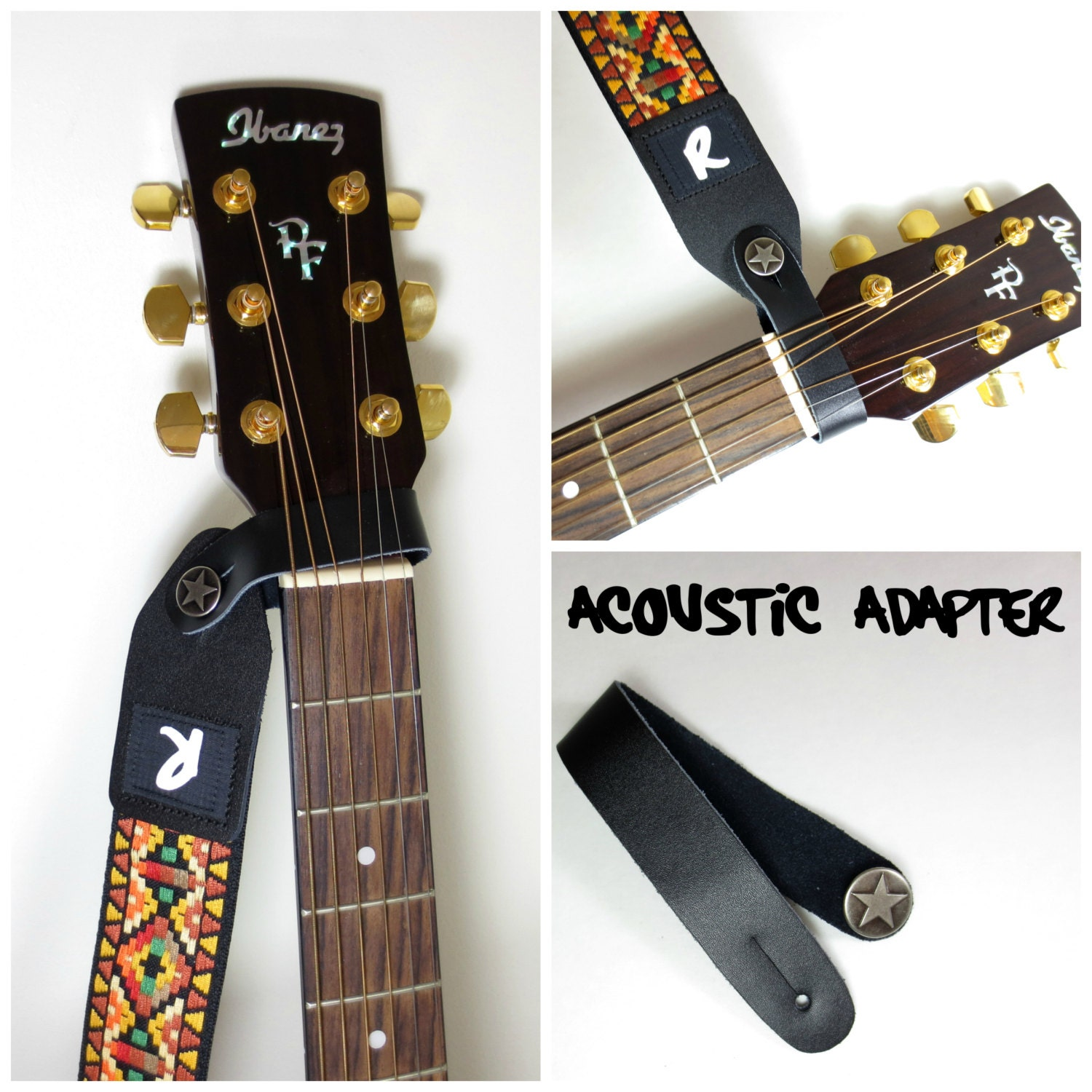 acoustic guitar strap leather adapter button headstock. Black Bedroom Furniture Sets. Home Design Ideas
