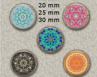 """12 mm, 20mm, 30 mm, 1 inch Musical Mandalas Digital Bottlecap Images Bottle Cap Images 1"""" Images for Jewelry ATC ACEO"""