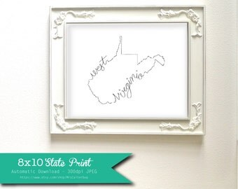 Printable West Virginia State Art Print 8x10 Digital Wall Art Gift