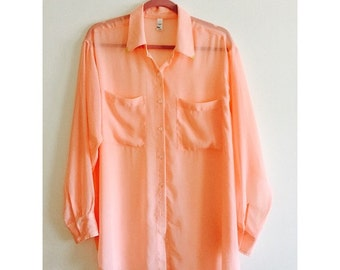 oversized chiffon blouse blush color
