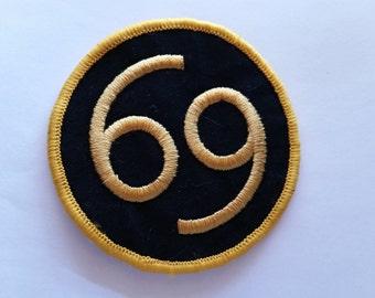 69 Black applique iron on patch