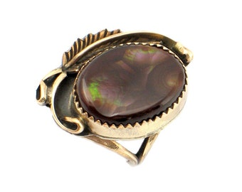 10K Gold & Fire Agate Ring • Signed Alfred Joe • Rare Navajo Style Fire Agate Ring in 10K Gold • Size 6