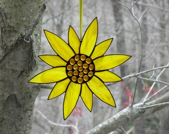 Stained Glass Flower Yellow, Stained Glass Suncatcher, Stained glass Sunflower, Glass flower, Yellow flower, Flower Suncatcher