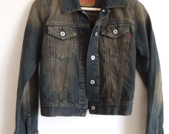 Vintage REPLAY asid black denim jacket with buttons and pockets, size S