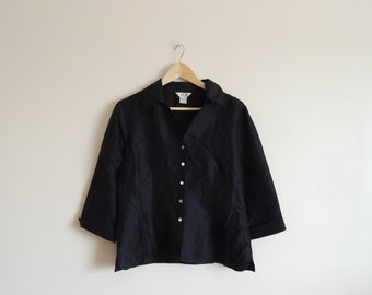 Vintage S.L.B. Black 100% SILK blouse with Mother pearl buttons and small side splits, size L