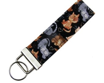 Personalized Key Chain / Key Fob Kitty Cat Kitten with Optional Initials