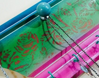 Upcycled crown molding necklace holder /recycled wood moulding decor /jewelry wall hanging storage organizer 3 teal scarf hooks 3 knobs
