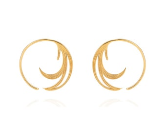 Duck Feather Hoop Earrings - Gold vermeil