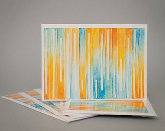 Oranges and Blues Watercolor - 5 Blank Greeting Card Set