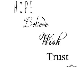 Inspirational Words set 3, Hope, Believe , Wish, Trust,  Body Art, Wickedly Lovely Skin Art Temporary  tattoo (includes four tattoos)