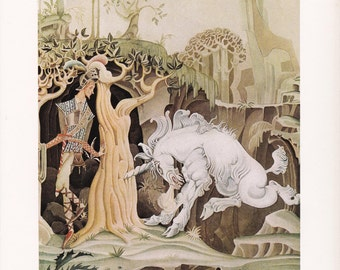 The Brave Little Taylor Kay Nielsen vintage art nouveau print unicorn folk tale fairy tale  Brothers Grimm home decor  8.5x11.5 inches