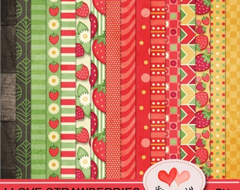 I Love Strawberries - Paper Pack