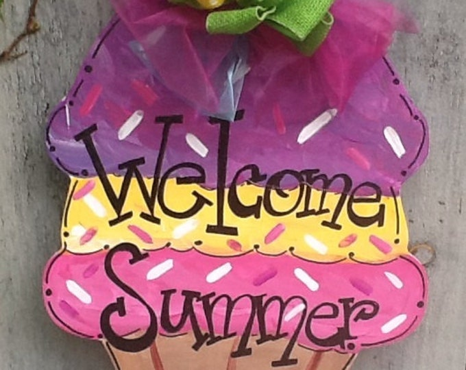 Ice cream cone sign,welcome summer door hanger, summer fun door hanger, happy summer door hanger, summer door hanger, summer door sign