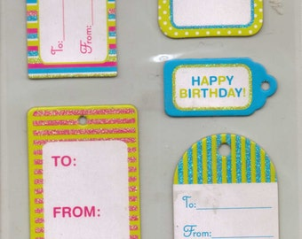 Studio112 BIRTHDAY TAGS Adhesive Chipboard