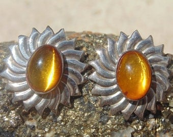James Rogers ~ Golden Amber and Sterling Silver Sun / Flower Post Earrings