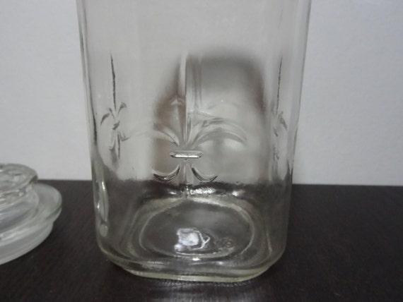 Vintage Anchor Hocking Clear Glass Fleur De Lis