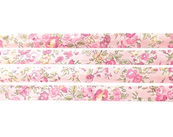 Liberty fabric bias binding Tatum L, 1x Yard  - 10mm wide, pink floral Liberty fabric UK, haberdashery and sewing supplies for crafters
