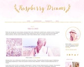 Blogger Blog design. Blogger template. Raspberry Dreams. Responsive blog design. Premade theme. Gold, glitter, soft pink, light, rose, yoga