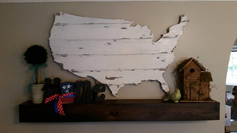 Modern White Classroom ~ Barn wood united states map cutout scroll cut shabby