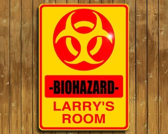 Biohazard sign, personalized for you on solid aluminum, and shipped fast!