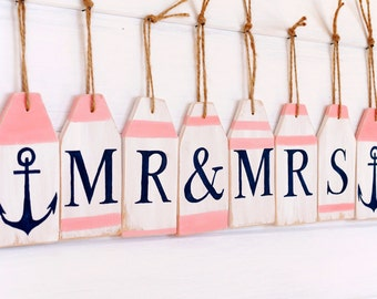 Mr and Mrs banner Nautical Wedding banner Custom wood signs Coral Wedding decorations Personalized