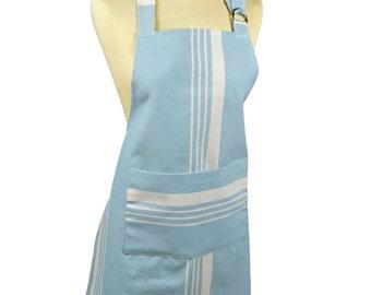 Kitchen 70x85cm fabric 100% cotton Pastel blue-striped apron