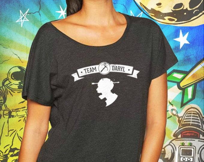 Team Daryl Vintage Black Women's Dolman T-Shirt Walking Dead Tshirt