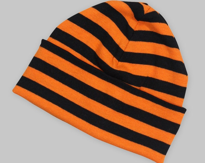 SALE! Baby Halloween Black and Orange Striped Hat Beanie Cap, Infant Boy Girl Black and Orange Beanie, Baby Halloween Outfit Accessory
