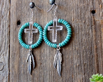 Native American Beaded Turquoise and Sterling Silver Cross dangly Hoop Earrings