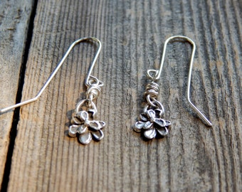 Tiny Sterling Silver Rustic Flower Earrings Native Made