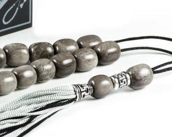 Gray Obsidian Gemstone Worry Beads Greek Komboloi
