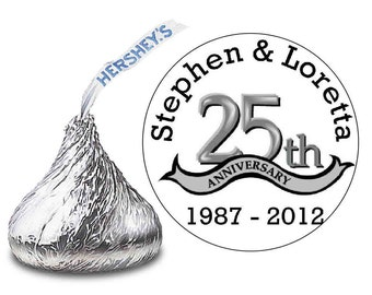 216 ~ 25th Silver Wedding Anniversary Hershey Kiss Kisses stickers Labels ~ FREE SHIPPING