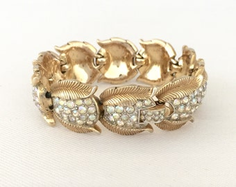 Crown Trifari Bracelet-Vintage Gold Tone Leaf Bracelet w Pave AB Rhinestones: Wedding, Bridal Jewelry, Maid of Honor, Mother of the Bride