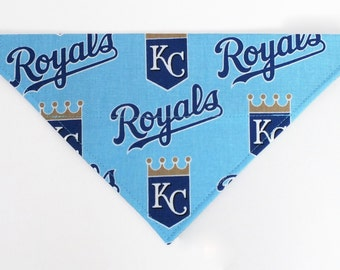 Kansas City Royals Dog Bandana, Dog Scarf, no tie bandana, slip on bandana, pet bandana, doggy scarf , scarf for dogs