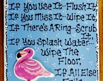 flamingo bathroom rules sign beach decor bath tropical plaque - Pink Flamingo Bath Decor